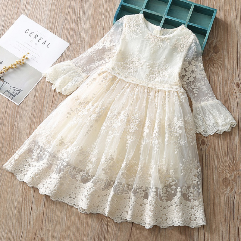 Summer dress for girls Children Girl Lace Princess Sundress Toddler Kids Baby Girls Lace Dress Party Prom Party Pageant Dresses stylish five flowers silver plated necklace page 5