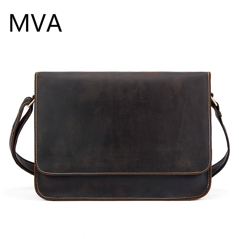 MVA Crazy Horse Genuine Leather Men Bag Leather Laptop Bag Messenger Bags Shoulder Crossbody Bags Men Briefcases Handbag 9022 ms crazy horse genuine leather men bag men s leather bag men messenger bags shoulder crossbody bags man handbag briefcase tw2011