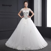 02DB262 Luxury Ball Gown Cap Sleeve Beaded Applique Wedding Dresses Real Photo Vestidos De Novia Robe