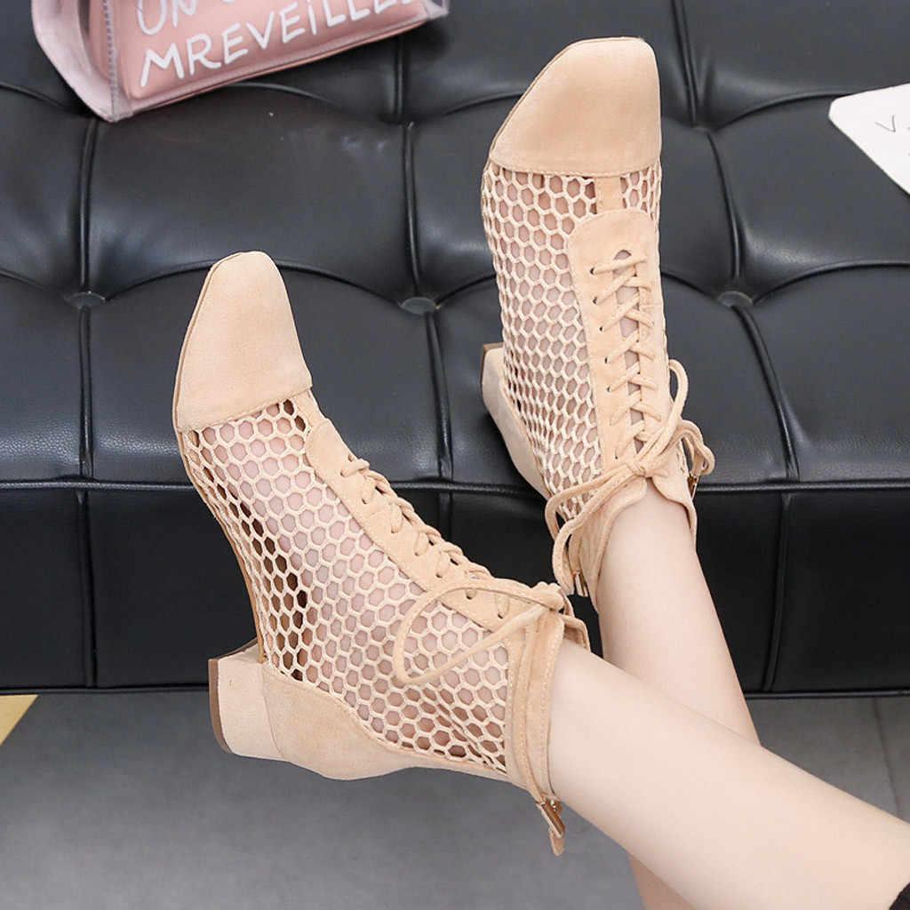 เครือข่ายแฟชั่น Patchwork สั้น Lady ฤดูร้อนสไตล์โรมัน Hollowed Out ชี้ Toe Comfort สายรัด Elegant รองเท้าผู้หญิง
