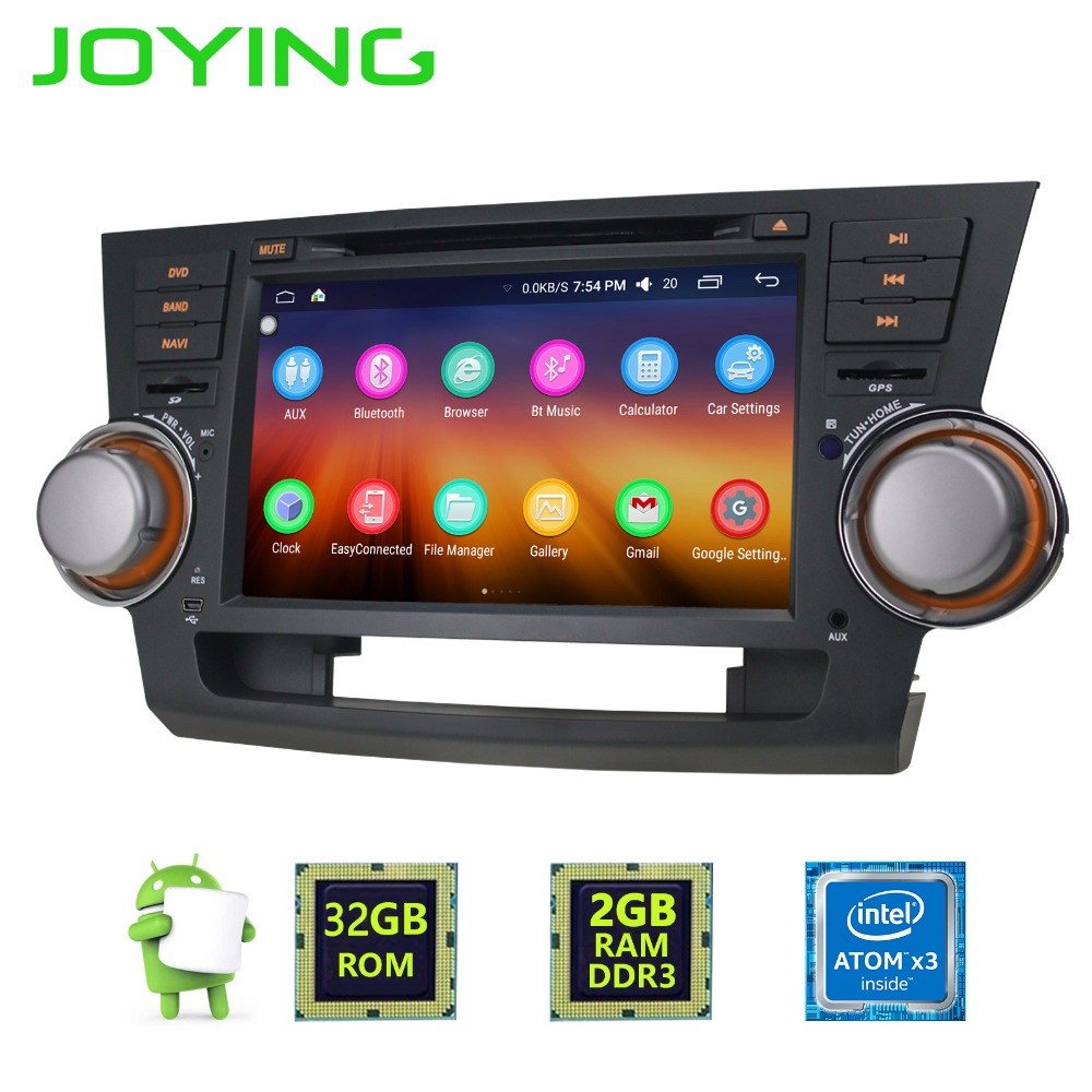 Quad Core 2G+32G 8 2 Din Android 6 0 Car GPS Player for Highlander Head Unit