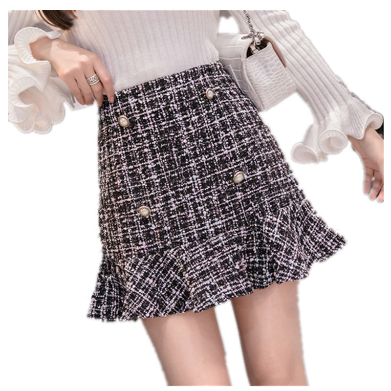 Mermaid-Skirt Runway Wind-Buttons Fashion Tweed Autumn Mini Women High-Quality New Small
