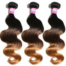 Говорят мне Ombre бразильские волосы Для тела волна 1b/4/30 не Реми Человеческие волосы Weave Связки можно купить 3 или 4 Связки предложения с Накладные волосы