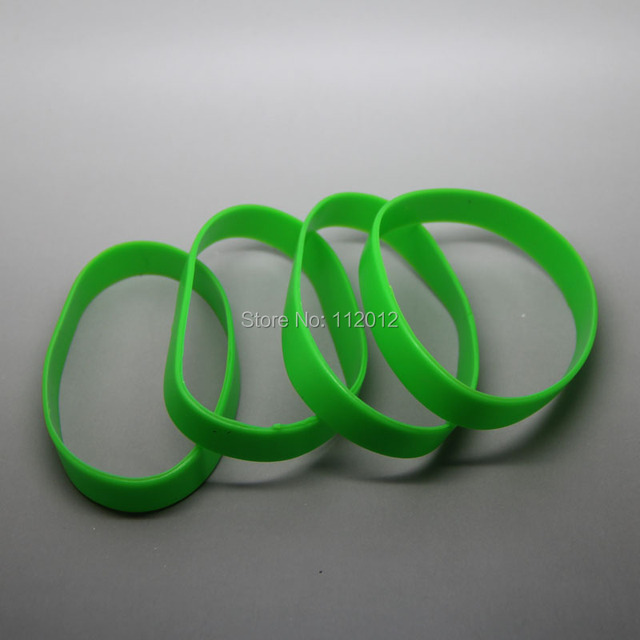Lot Of 20 Green Silicone Blank Wristband Ful Rubber Bracelets Good Luck Gift Free