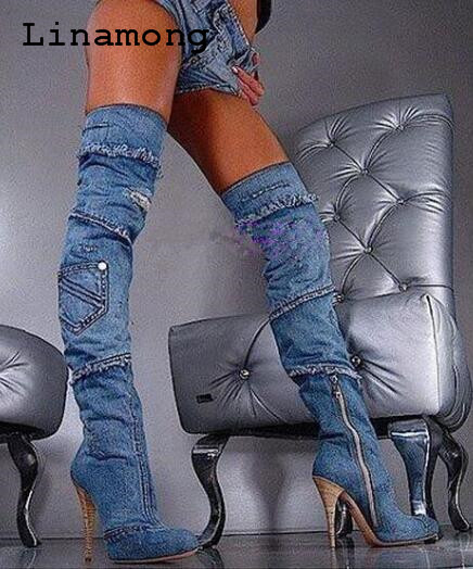 Neuesten Hohen Mit Schlank Stiefel Absätzen Trendy Frauen Die Dünne Stil Cowboy Knie Über Chic Schuhe Sexy Lange Rvqx6Tnw