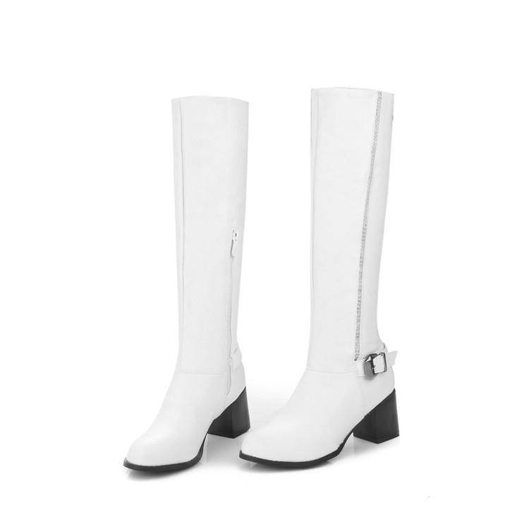 Botas Mujer Winter Boots Big Size 34-45 Women Knee High Boots Sexy Chunky Heels Round Toe Winter Warm Shoes Less Platform T5319 big size 34 43 women over knee high boots sexy thin high heels red bottom shoes round toe platform women winter snow boots