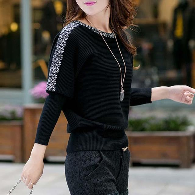 New Autumn Winter Fashion Pullover Women Sweater O-neck Long-sleeved Casual Knitted Hot Drilling Feminino