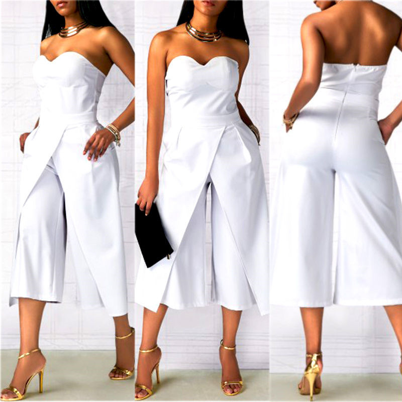New Sexy Women Off Shoulder Jumpsuit Backless Summer Strapless Playsuit Ladies Sexy Clubwear Bodycon Evening Party Outifits