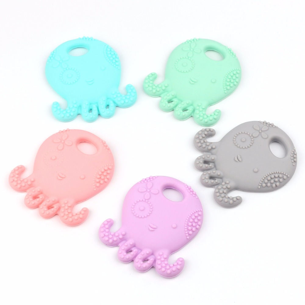TYRY.HU 1pc safety silicone octopus  and natural tooth chewing pendant care necklace baby pacifier false teeth
