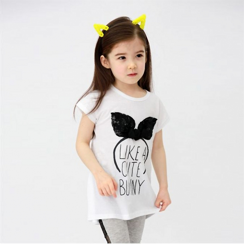 2016 New Kids Toddler Clothes Bunny ears Pattern Girls Short Sleeve Casual T Shirt girl rabbit cotton Blouse Tops