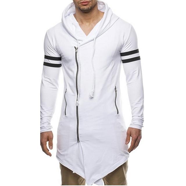 Asian Size Fashion Men's Long Black Asymmetry Zipper Hooded T shirt Men's With Side Zip Longline Hip Hop Streetwear Shirt