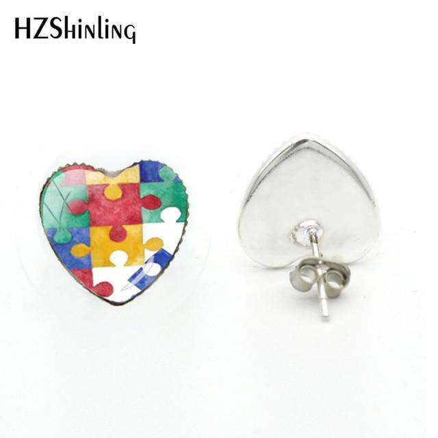 2018 nowy autyzm świadomość kolczyk w kształcie serca ręcznie wykonane kolczyki szklaną kopułą biżuteria z obrazkiem Art Ear Studs dla kobiet