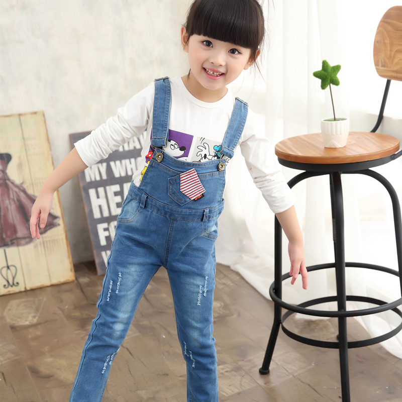 цена на 2016 New Arrival Spring Denim Girl Overalls Baby Girls Bib Pants Children Casual Suspender Trousers Jeans One Piece