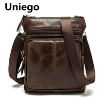 Uniego New Genuine Leather Men Shoulder Bags Satchel Cowhide Male Messenger small bag  Zipper Men