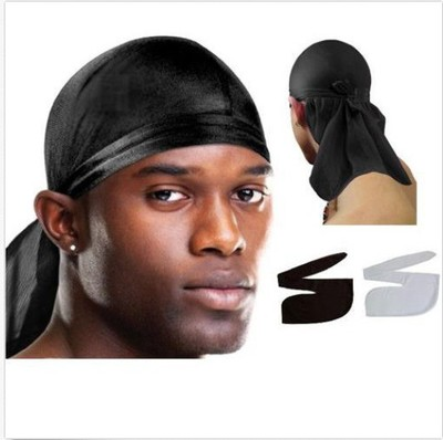 Satin Men Stretchy Cap Hip Hop Du Doo Rag Durag Wigs Turban Bandana Headwear Solid Color Long Hat Tie Down Tail Hair Accessories