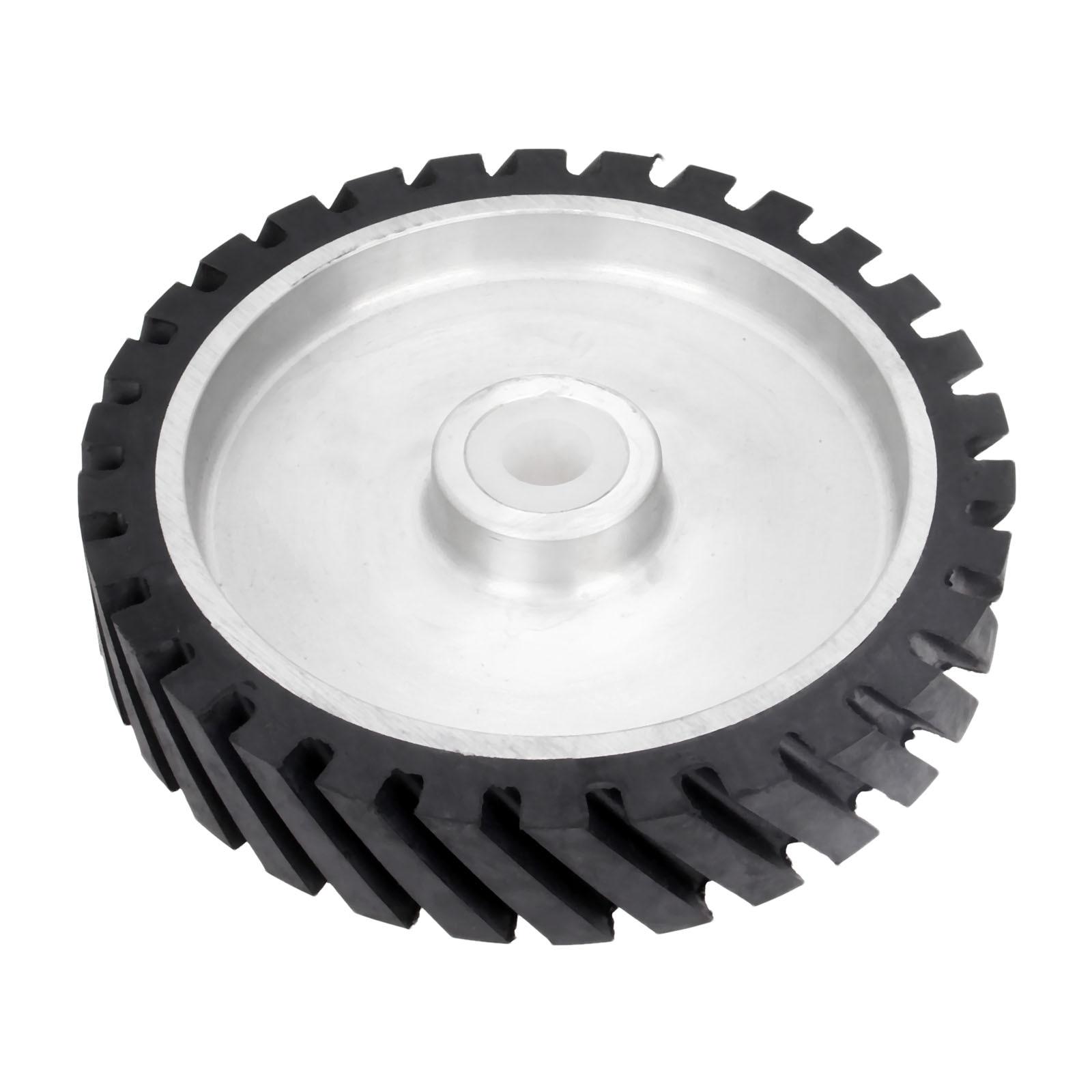 DRELD 250 50mm Serrated Belt Grinder Rubber Contact Wheel 47mm Dia for Abrasive Sanding Belt Polishing