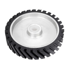 DRELD 250*50mm Serrated Belt Grinder Rubber Contact Wheel 47mm Dia for Abrasive Sanding Polishing Grinding