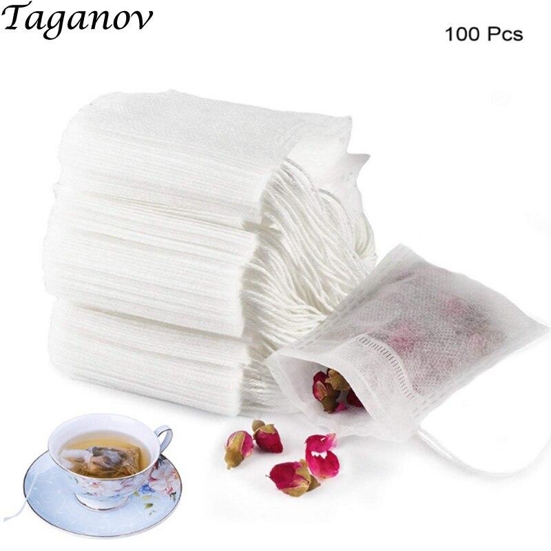 100 pcs Tea Filter Bags 2.17 x 2.78 inch Disposable Infuser Safe Natural Material  Drawstring Empty Bag for Loose Leaf