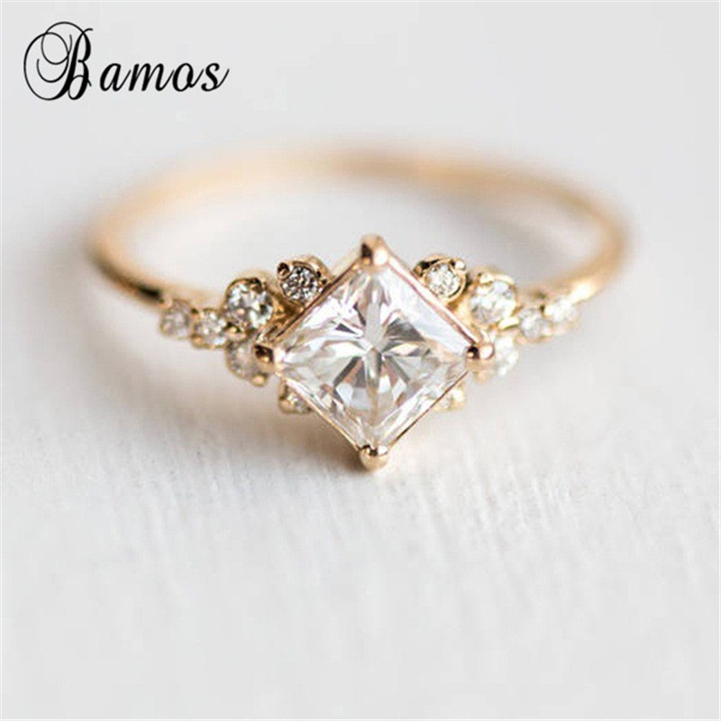 Bamos Engagement-Ring Jewelry Zircon Princess Cut Promise Gold-Color Vintage Women Summer