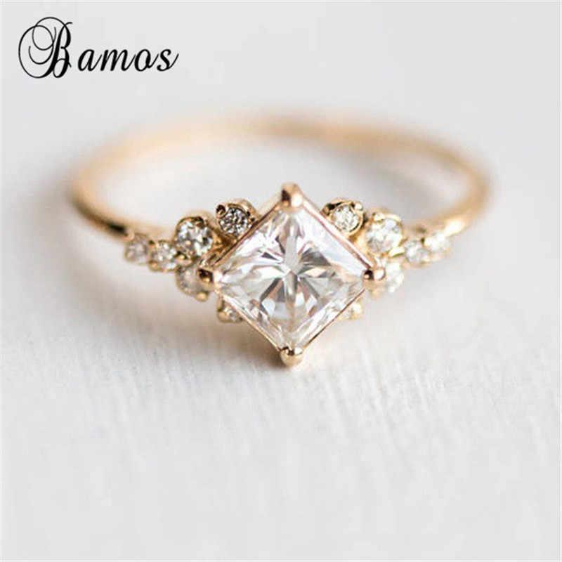 Bamos Princess Cut Zircon Engagement Ring Vintage Gold Color
