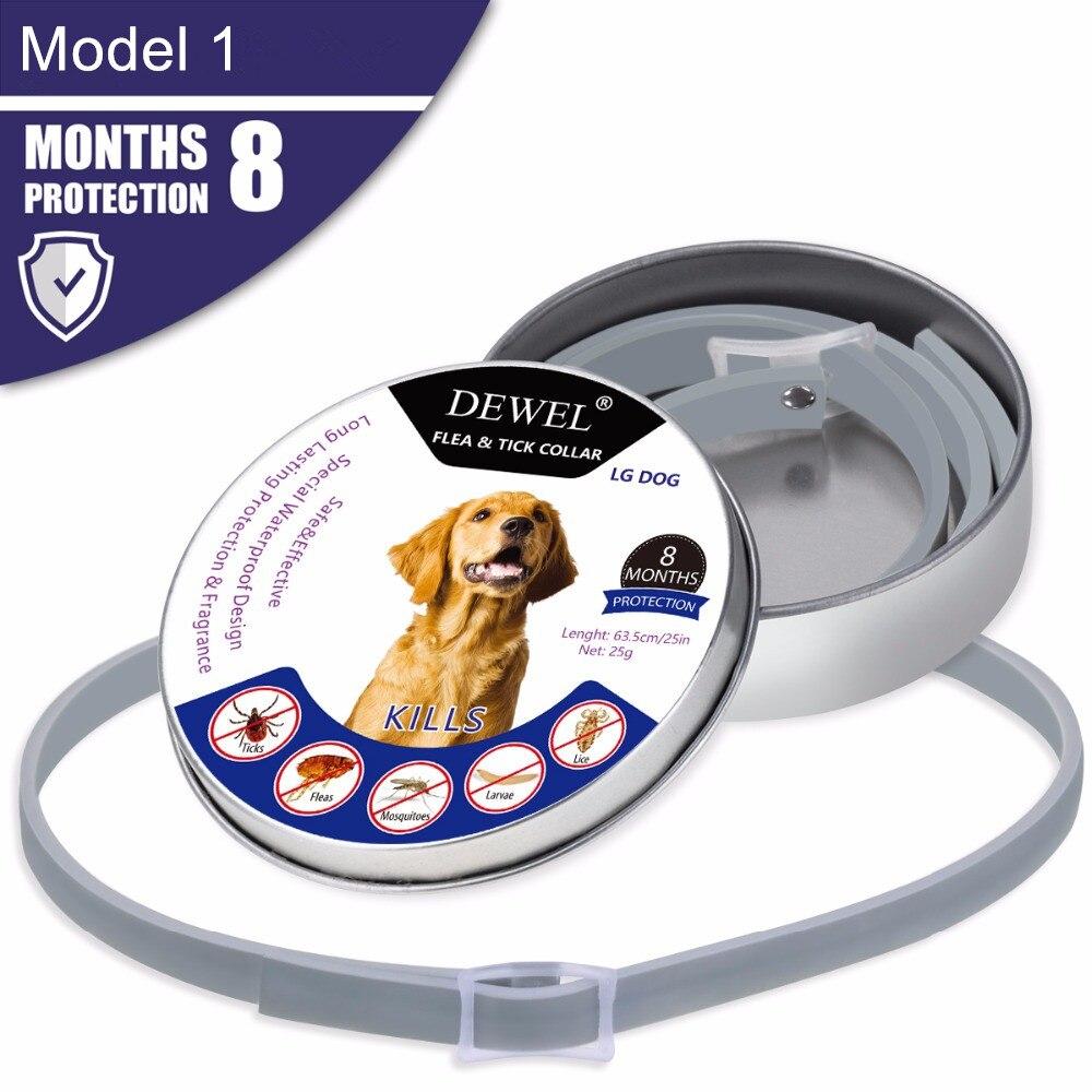 Dewel todos Cat Collar de perro Anti Flea Ticks mosquitos al aire libre protección ajustable collares 8 meses protección a largo plazo