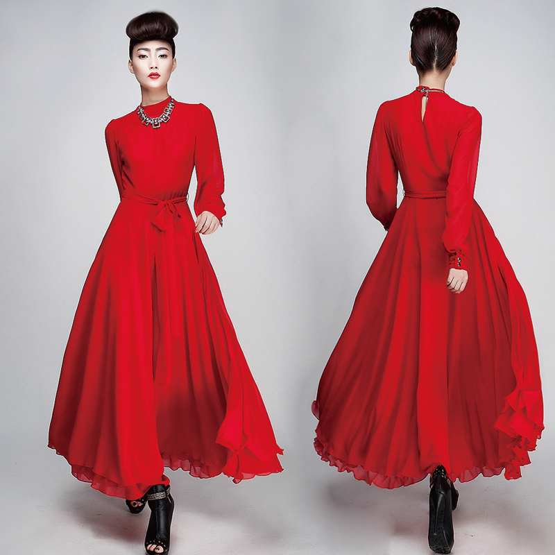 chiffon long vintage casual rockabilly catwalk runway red silk vetement femme dresses tunique brandy melville vestido