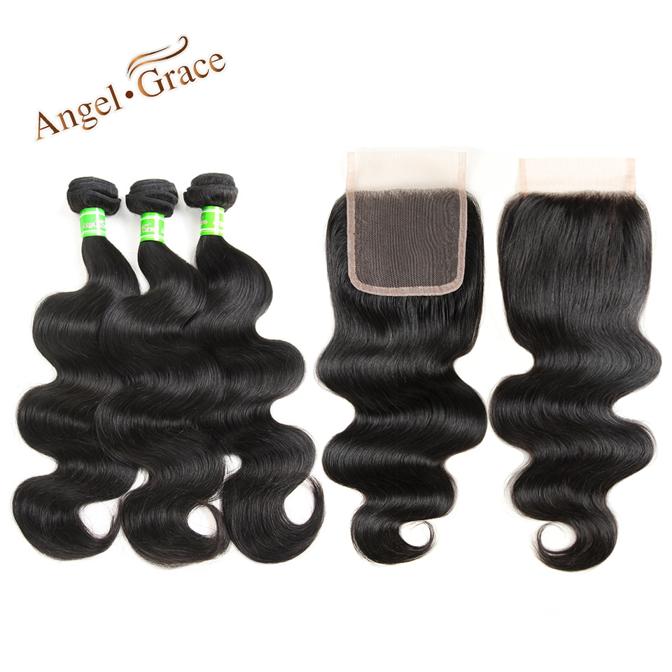 Angel Grace Hair Indian Hair Body Weave 3 Bundles With Closure Human Hair Bundles With Closure Remy Hair Extension 10-28 Inch