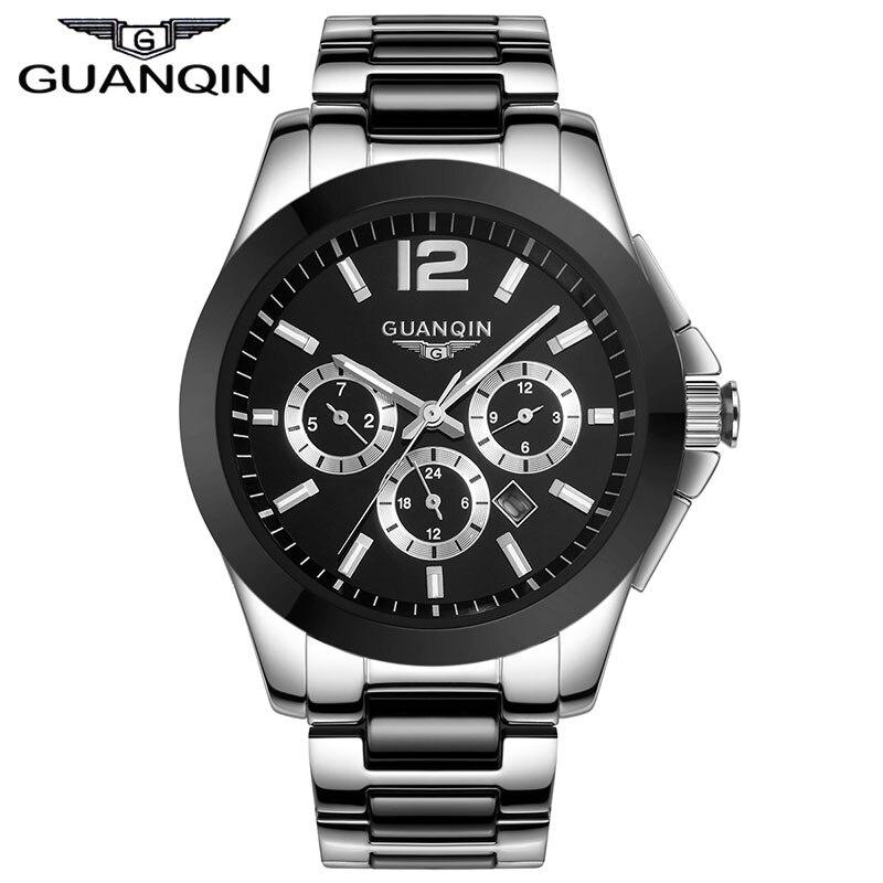 מקורי guanqin בשעונים האוטומטיים של הגברים האופנה קרמיקה יוקרה למעלה מותג וגברים מקרית שעוני יד relogio masculino reloj
