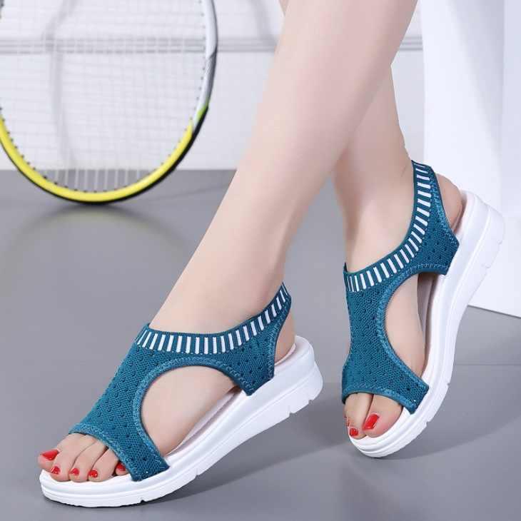 9 farben frauen sandalen sommer neue plattform sandale schuhe atmungsaktive komfort einkaufen damen wanderschuhe weiß schwarz große größe 45