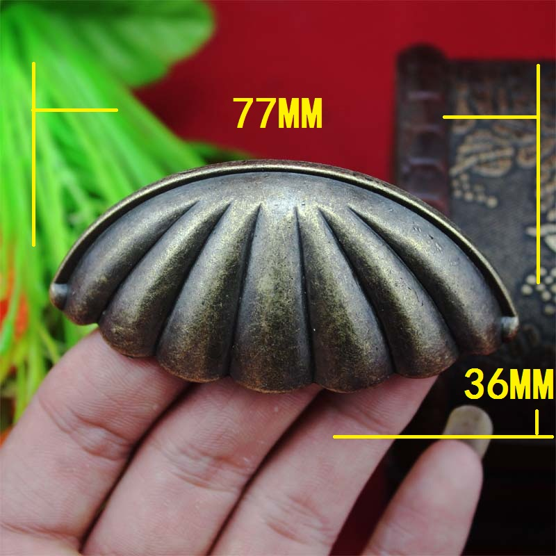 77*36mm Alloy Kitchen Drawer Cabinet Door Handle Furniture Knobs Chinese Flower Cupboard Antique Metal Shell Pull Handles,1PC retro vintage kitchen drawer cabinet door flower handle furniture knobs hardware cupboard antique metal shell pull handles 1pc