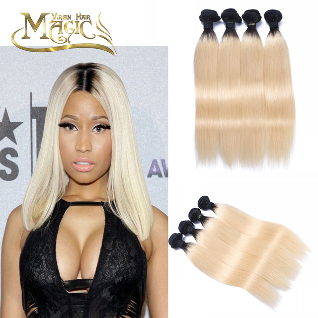 Brazilian Virgin Hair 4 Bundles Dark Roots Blonde Hair Silky