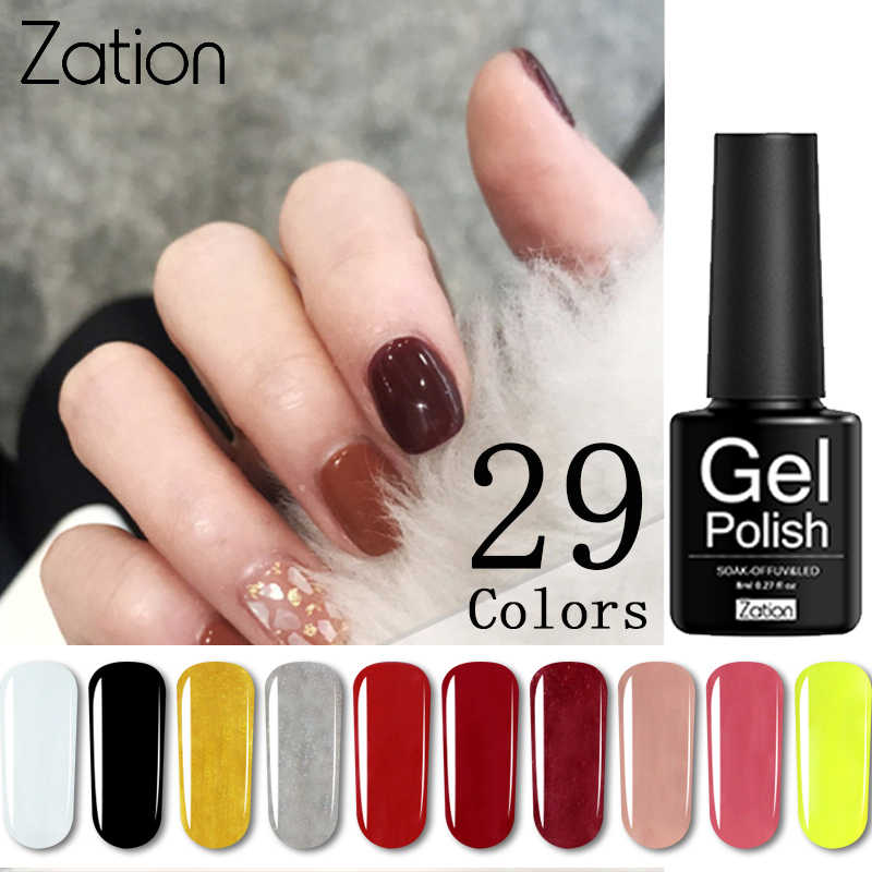 Zation Murni Warna 8 Ml Rendam Off Manicure Uv Gel Polandia Pernis Pernis Semi Permanen Enamel Nail Art Top Coat LED Gel Primer