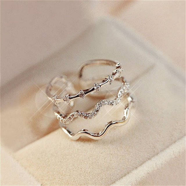 Micro Pave Zircon Open Adjustable Rings For Women Bijoux New Fashion Multilayer Wave Jewelry Accessories
