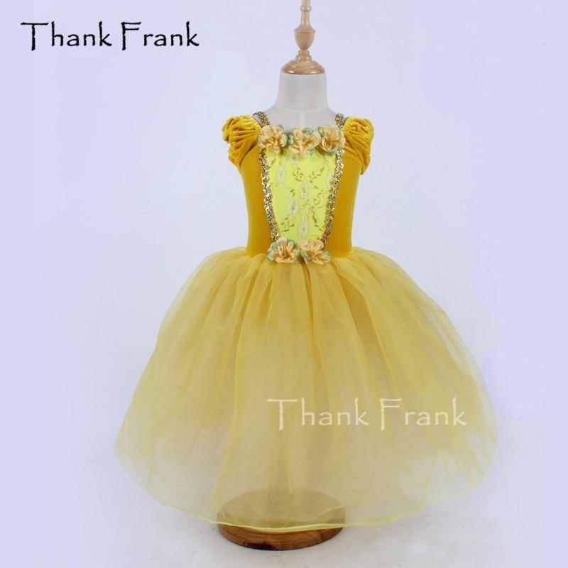 Thank Frank Velvet Princess Long Ballet Tutu Dress Girls Adult Sequin Flowers Lace Dance Costume C366