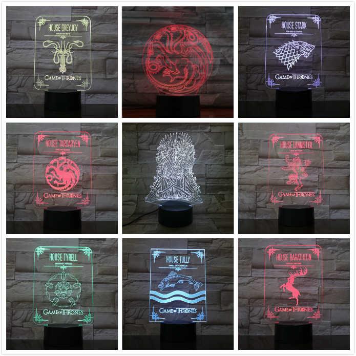 شخصيات لعبة منزل ستارك من عروش وولف تارجارين دراغون أكريليك وهمي 3D LED مصباح 7 ألوان متغيرة مصباح مكتب باللمس USB