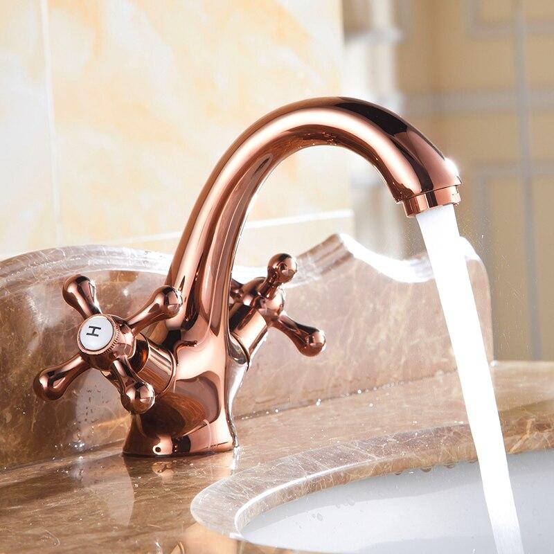 Robinets d'évier de salle de bains Vintage en or rose, mélangeur de robinet de bassin de cuisine d'eau en cuivre Antique, robinet de bassin à double support rétro