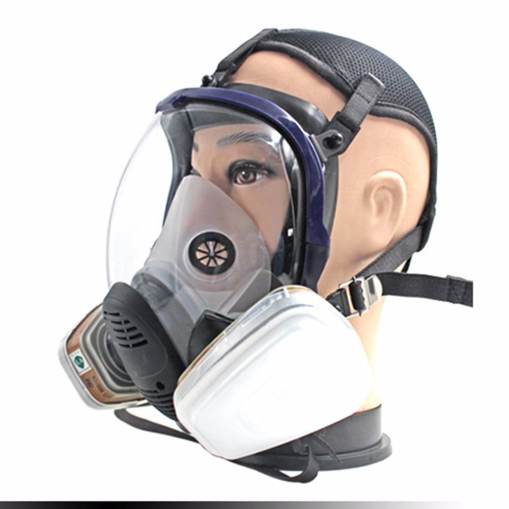 7pcs/Set Full Face Respirator Gas Mask Anti-dust Chemical Safety Mask with 3M Cartridge for Industry Painting Spraying 3m 6800 gas mask suit silicone full face respirator masks with filter cartridge safety mask painting spraying toxic gas prevent