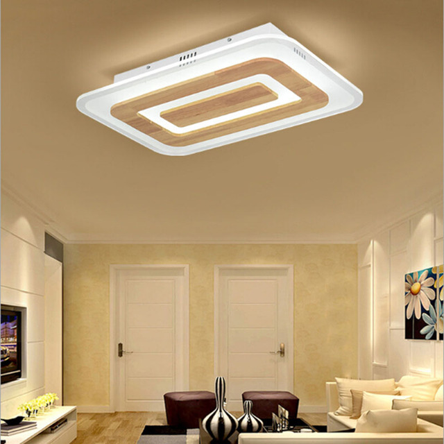 Rectangle Oak Acrylic Modern Led Ceiling Lights For Living Room Bedroom Dining  Room Square Led Ceiling Lamp Fixture