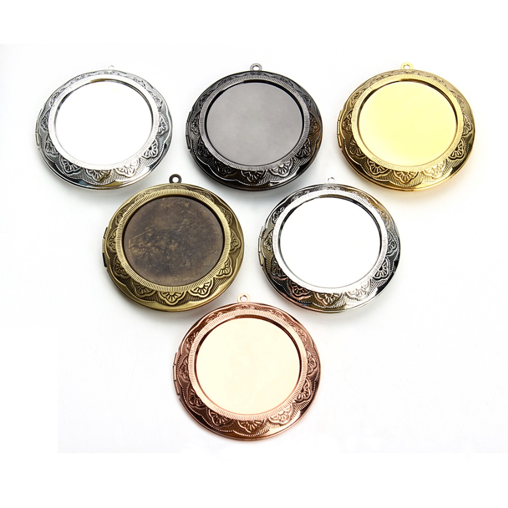 1pc Phase Box Pendant Settings Cabochon Base Photo Blank Frame Base Tray Bezel For 30mm Cameo Cabochons DIY Necklace Charms