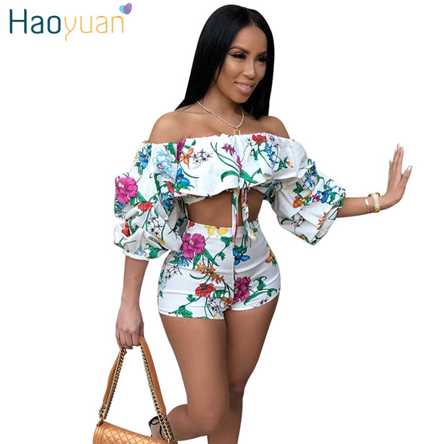 19e03c1b96d HAOYUAN Sexy Two Piece Set Women Off Shoulder Half Sleeve Crop Tops and Shorts  Suits Casual