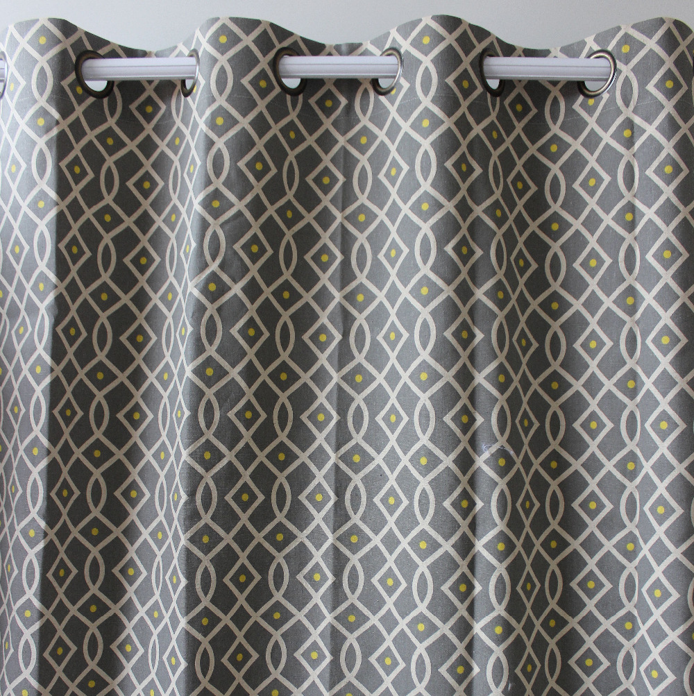 Cheap grey curtains - Vezo Home Grey Geometrics Linen Cotton Finished Window Curtains Panel Ready Made Curtains Panel Living Room Home Decor 51 98