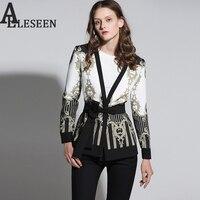 Vintage Gothic Jackets Women 2017 Autumn Winter New Slim Full Sleeve Abstract Flower Barroco Print Belt