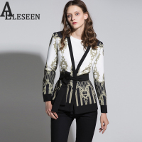 Vintage Gothic Jackets Women 2018 Autumn Winter New Slim Full Sleeve Abstract Flower Barroco Print Belt Cardigan Designer Jacket
