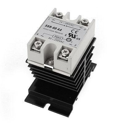 AC24-380V 60A Output 4 Screw Terminal Single Phase Solid State Relay w Heatsink normally open single phase solid state relay ssr mgr 1 d48120 120a control dc ac 24 480v