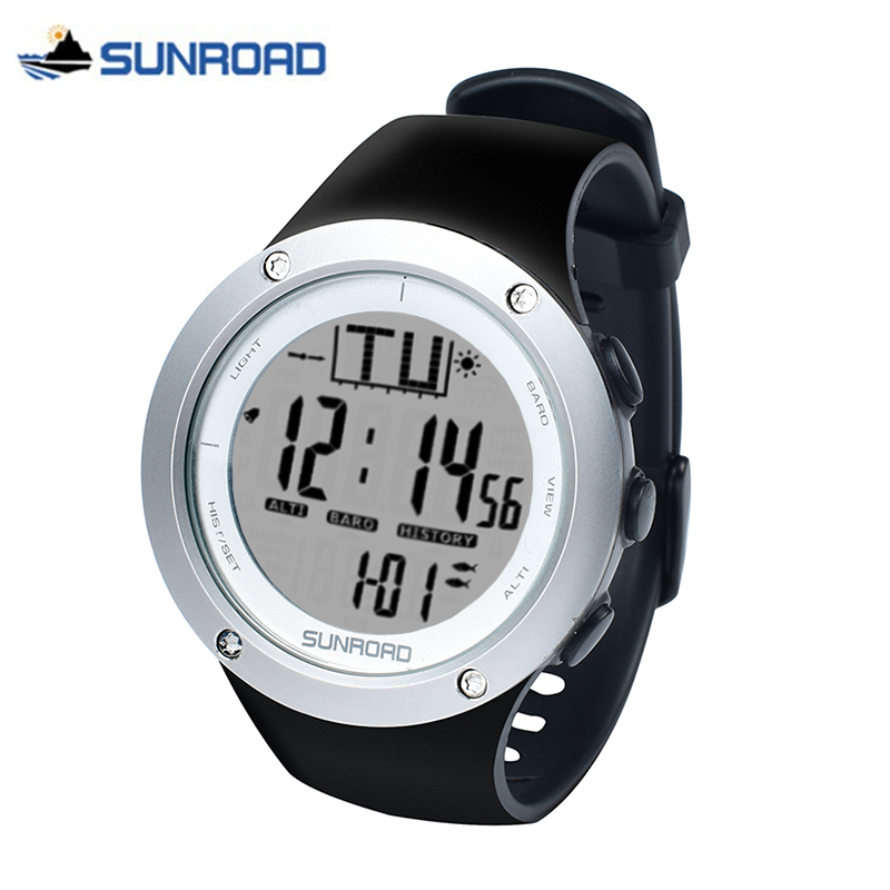SUNROAD Fishing Barometer Watch Men All In One Waterproof Altimeter Thermometer Weather Forecast Digital Watch Saat Reloj Hombre sunroad digital sport men watch fr820a 3atm waterproof fishing barometer altimeter watch weather forecast clock yellow men watch