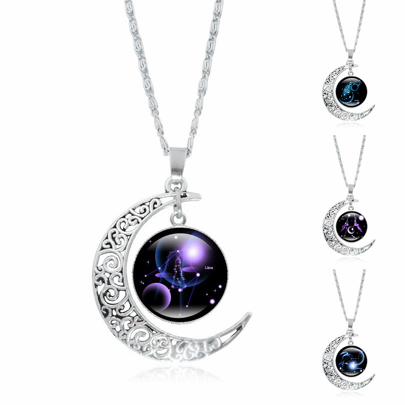 12 Constellation Glass Cabochon Pendant Necklace Glow In The Dark Zodiac Jewelry Silver Crescent Moon Chain Necklace Women