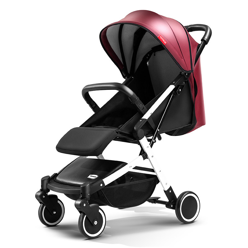 PU Leather Hood Light Baby Strollers 175 Degree Umbrella Cars Prams