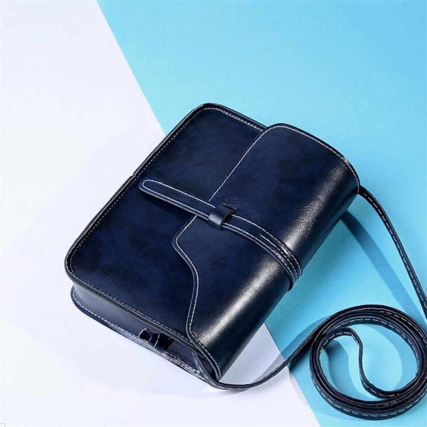 MOLAVE Handtas Bag Vrouwelijke Effen Zakken voor Meisjes Hasp Vintage Purse Bag Leather Cross Body Schouder Messenger Bags Jul18PY