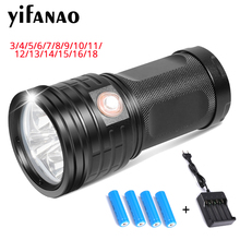 48000Lums Ultra Bright LED Flashlight Powerful Lamp 18650 Searchlight Torcia Torch Lanterna Camping Hunting Bike Light