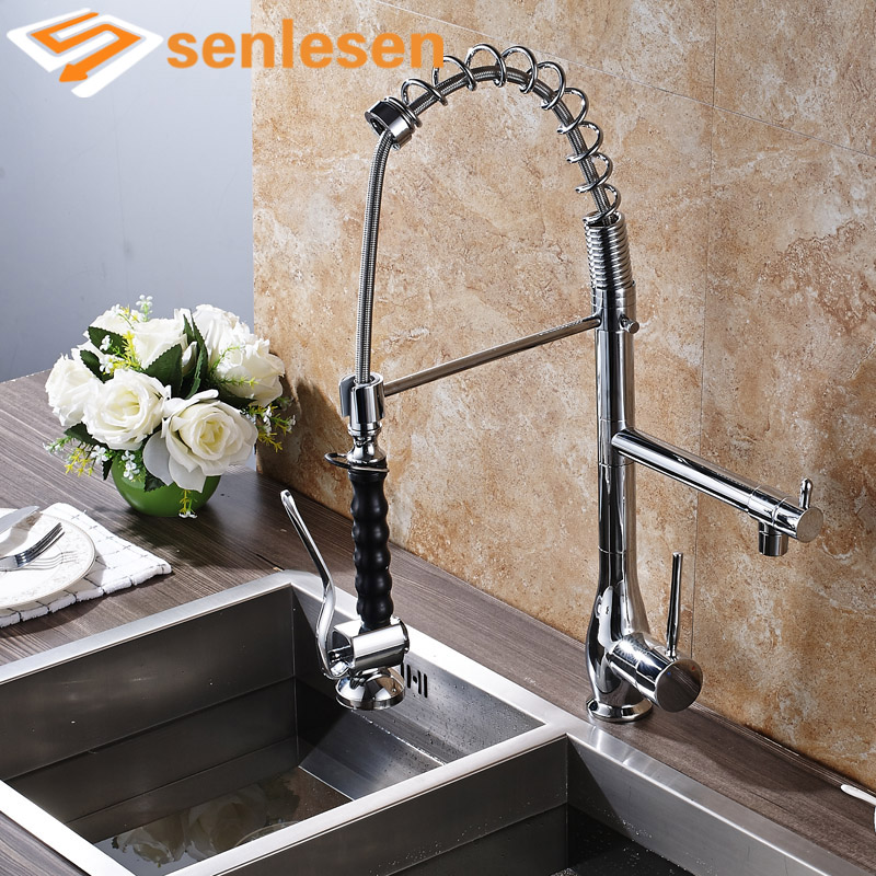 Wholesale and Retail Chrome Finish Deck Mounted Single Handle Kitchen Mixer Faucet wholesale and retail deck mounted square waterfall bathtub faucet single handle chrome finish bath spray w hand shower